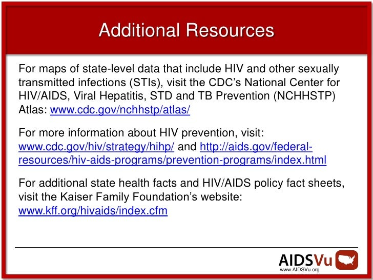 Additional ResourcesFor maps of state-level data that include HIV and other sexuallytransmitted infections (STIs), visit t...