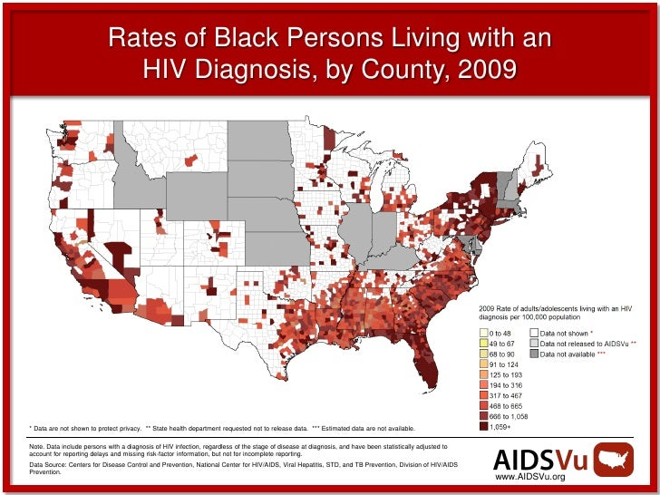 Rates of Black Persons Living with an                              HIV Diagnosis, by County, 2009* Data are not shown to p...