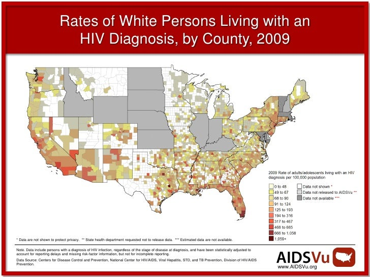 Rates of White Persons Living with an                             HIV Diagnosis, by County, 2009* Data are not shown to pr...