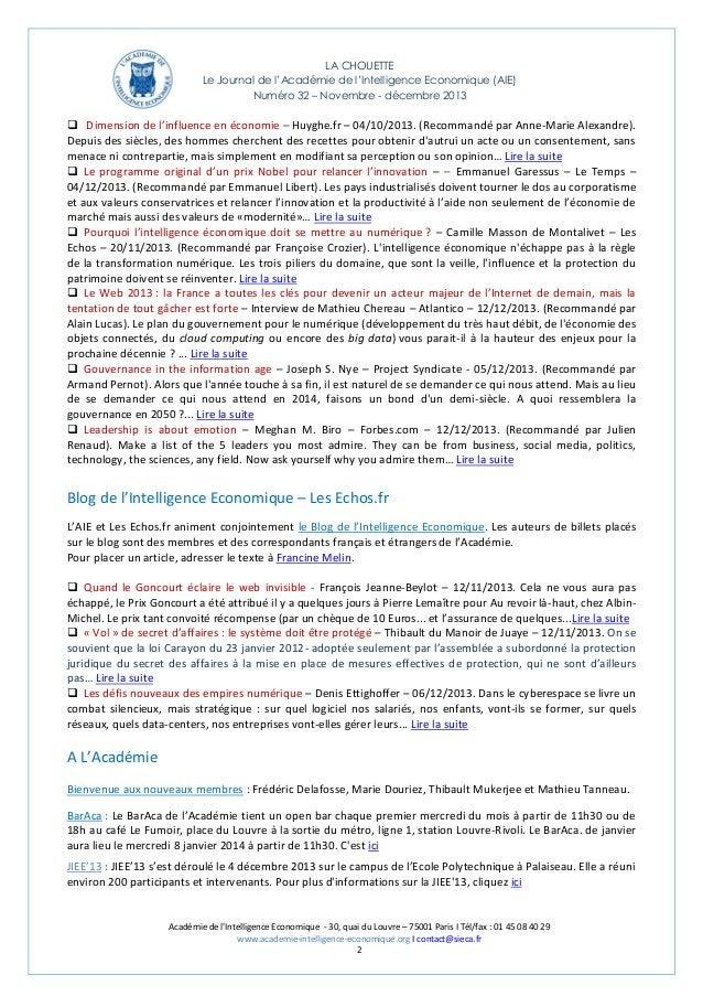LA CHOUETTE Le Journal de l'Académie de l'Intelligence Economique (AIE) Numéro 32 – Novembre - décembre 2013   Dimension ...