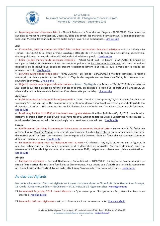 LA CHOUETTE Le Journal de l'Académie de l'Intelligence Economique (AIE) Numéro 32 – Novembre - décembre 2013   Les émerge...