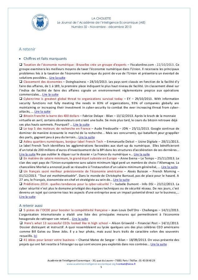 LA CHOUETTE Le Journal de l'Académie de l'Intelligence Economique (AIE) Numéro 32 – Novembre - décembre 2013  A retenir  ...