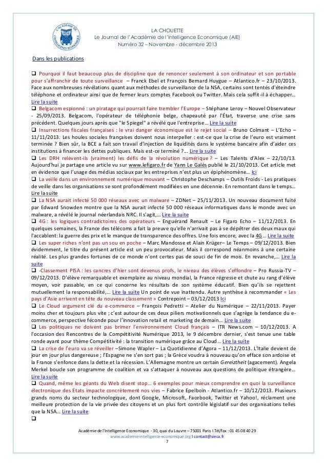 LA CHOUETTE Le Journal de l'Académie de l'Intelligence Economique (AIE) Numéro 32 – Novembre - décembre 2013  Dans les pub...