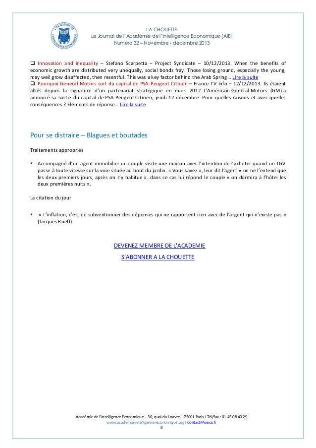 LA CHOUETTE Le Journal de l'Académie de l'Intelligence Economique (AIE) Numéro 32 – Novembre - décembre 2013   Innovation...