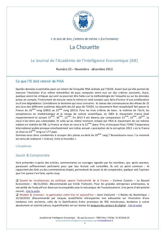 « Je vois de loin, j'atteins de même » (La Fontaine)  La Chouette Le Journal de l'Académie de l'Intelligence Economique (A...