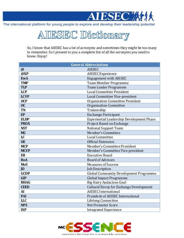 Aiesec acronyms