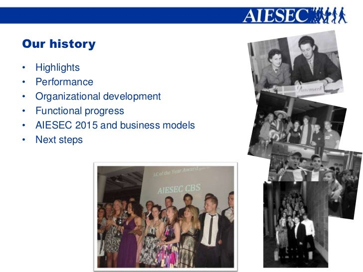 Our history•   Highlights•   Performance•   Organizational development•   Functional progress•   AIESEC 2015 and business ...