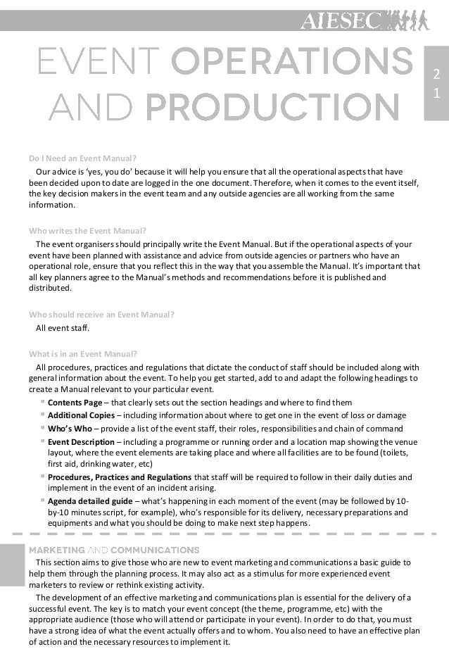 Aiesec event organization guide – Event Manual Template