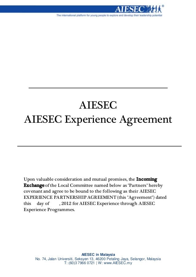 Aiesecexperience partnership agreement aiesecexperience partnership agreement aiesec in malaysia no 74 jalan universiti seksyen 13 46200 petaling jaya platinumwayz