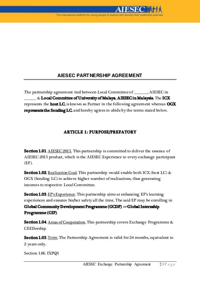 AiesecExperience Partnership Agreement