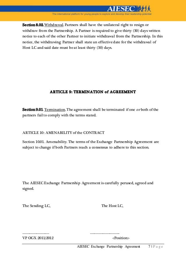 Aiesec_Experience Partnership Agreement