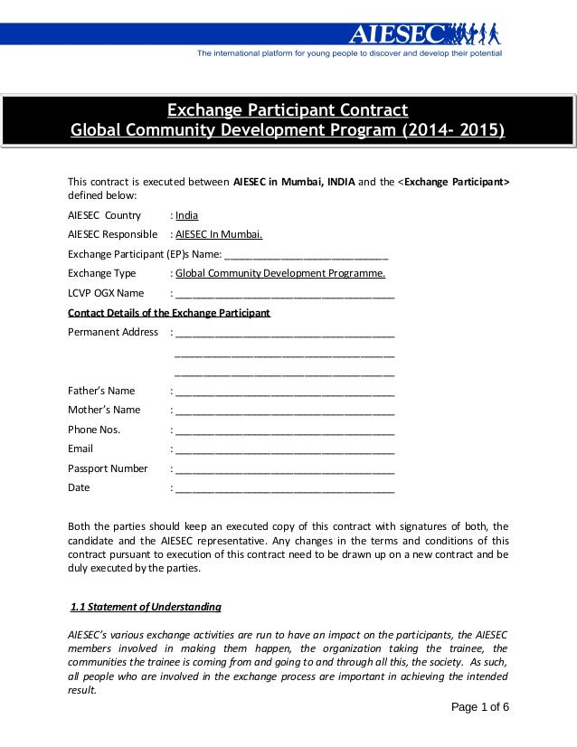 Exchange Participant Contract Global Community Development Program (2014- 2015) This contract is executed between AIESEC i...