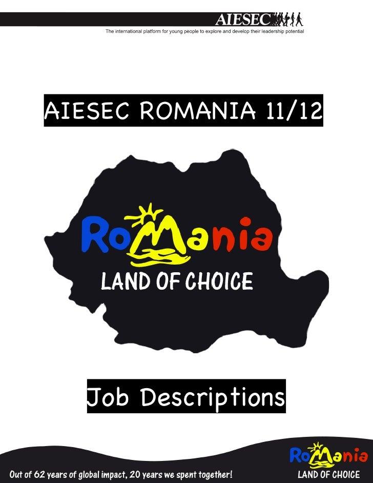 AIESEC ROMANIA 11/12                           Job Descriptions