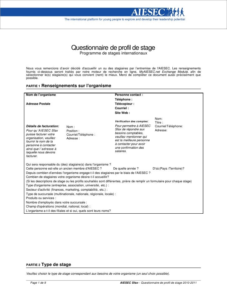 Questionnaire de profil de stage                                        Programme de stages internationauxNous vous remerc...
