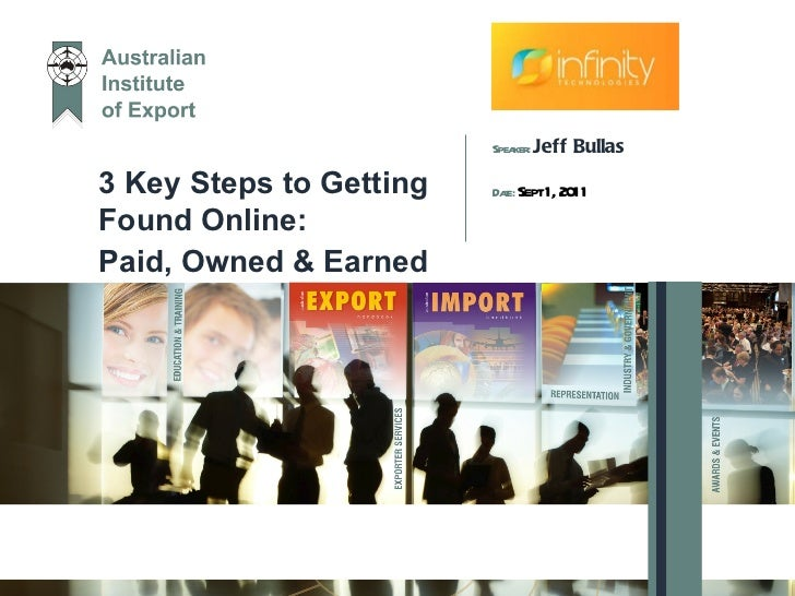 3 Key Steps to Getting Found Online:  Paid, Owned & Earned Speaker:  Jeff Bullas Date:  Sept 1, 2011