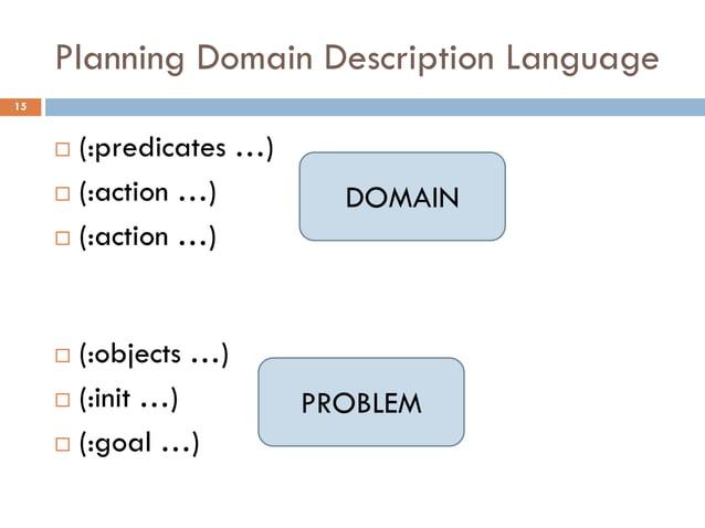 Planning Domain Description Language15      (:predicates …)      (:action …)         DOMAIN      (:action …)      (:ob...