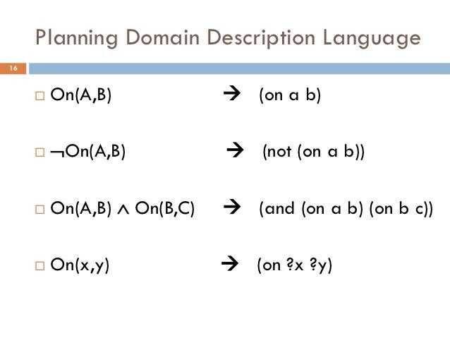 Planning Domain Description Language16        On(A,B)              (on a b)        On(A,B)             (not (on a b))...