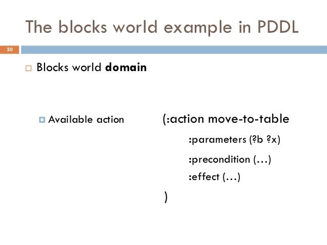 The blocks world example in PDDL20        Blocks world domain          Available   action   (:action move-to-table      ...