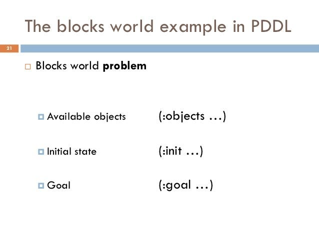The blocks world example in PDDL21        Blocks world problem          Available     objects   (:objects …)          I...