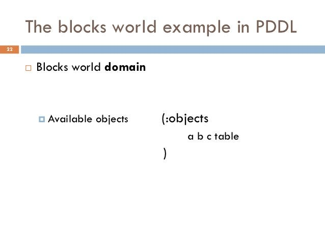 The blocks world example in PDDL22        Blocks world domain          Available   objects   (:objects                  ...
