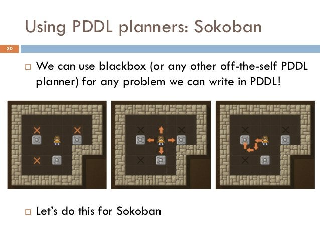 Using PDDL planners: Sokoban30        We can use blackbox (or any other off-the-self PDDL         planner) for any proble...