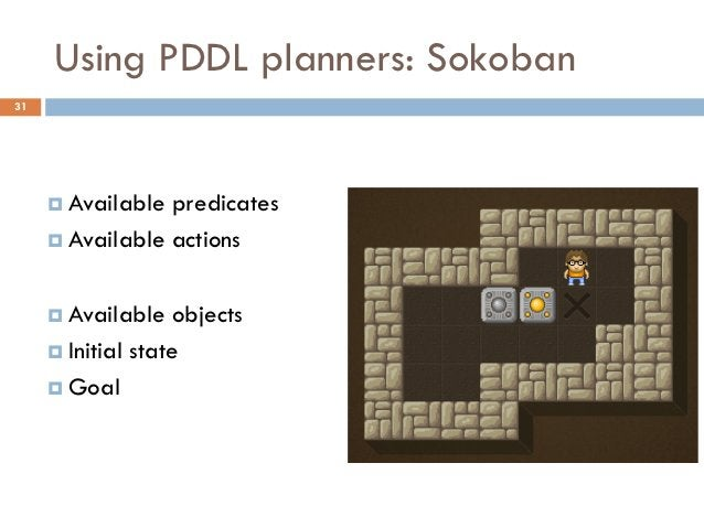 Using PDDL planners: Sokoban31      Available predicates      Available actions      Available   objects      Initial ...
