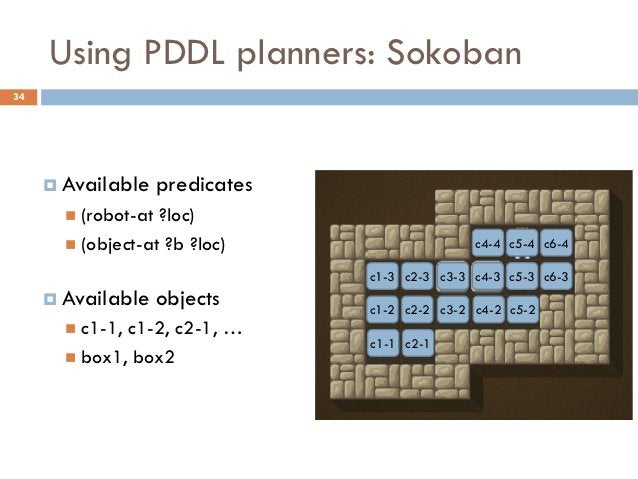 Using PDDL planners: Sokoban34      Available     predicates        (robot-at ?loc)        (object-at ?b ?loc)         ...