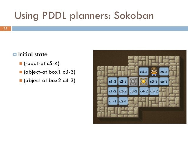 Using PDDL planners: Sokoban35      Initial   state        (robot-at c5-4)        (object-at box1 c3-3)                ...