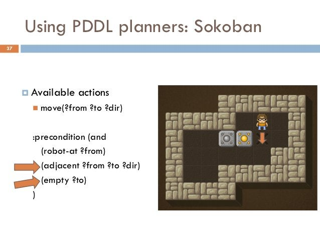 Using PDDL planners: Sokoban37      Available   actions        move(?from   ?to ?dir)       :precondition (and         (...