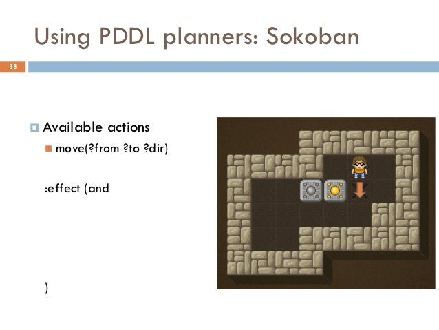 Using PDDL planners: Sokoban38      Available   actions        move(?from   ?to ?dir)       :effect (and       )