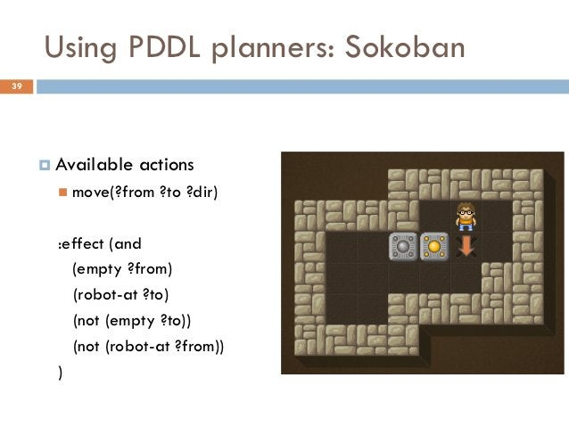 Using PDDL planners: Sokoban39      Available   actions        move(?from   ?to ?dir)       :effect (and         (empty ...