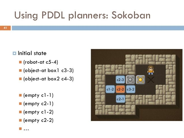 Using PDDL planners: Sokoban41      Initial   state        (robot-at c5-4)        (object-at box1 c3-3)        (object...