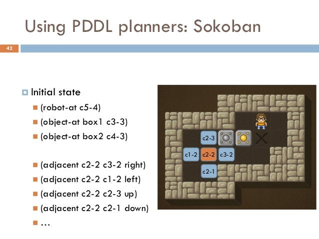 Using PDDL planners: Sokoban42      Initial   state        (robot-at c5-4)        (object-at box1 c3-3)        (object...