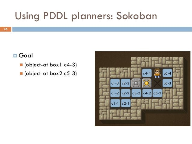 Using PDDL planners: Sokoban46      Goal        (object-at box1 c4-3)        (object-at box2 c5-3)                  c4-...