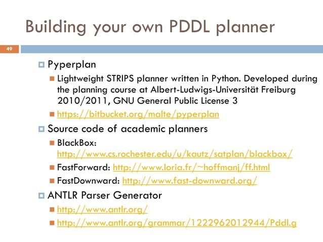 Building your own PDDL planner49       Pyperplan         Lightweight STRIPS planner written in Python. Developed during ...