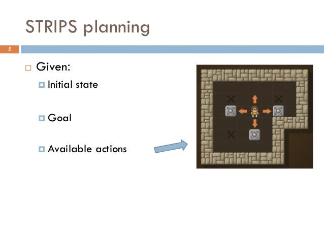 STRIPS planning5       Given:         Initial   state         Goal         Available     actions