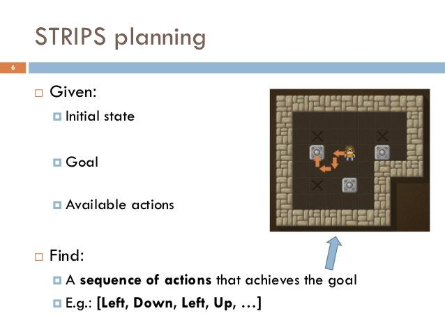 STRIPS planning6       Given:         Initial   state         Goal         Available     actions       Find:        ...