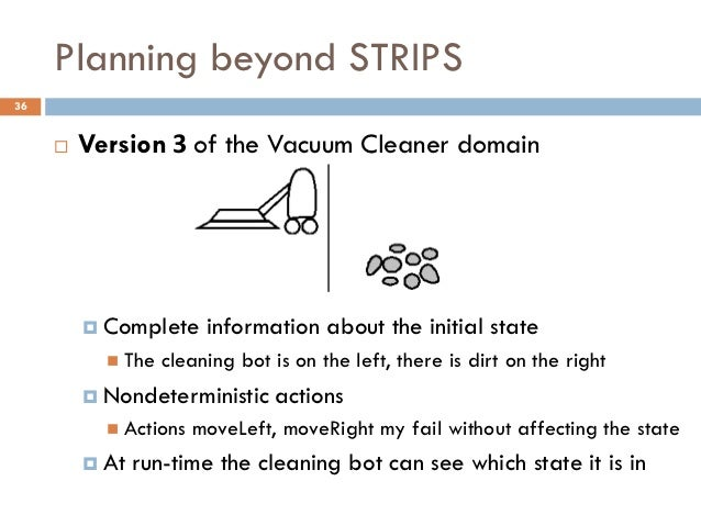 Planning beyond STRIPS36        Version 3 of the Vacuum Cleaner domain          Complete     information about the initi...