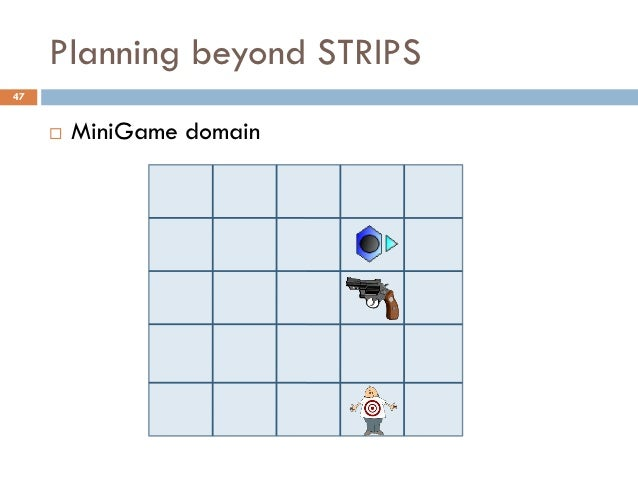 Planning beyond STRIPS47        MiniGame domain