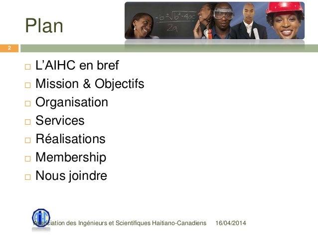 Plan  L'AIHC en bref  Mission & Objectifs  Organisation  Services  Réalisations  Membership  Nous joindre 2 16/04/2...