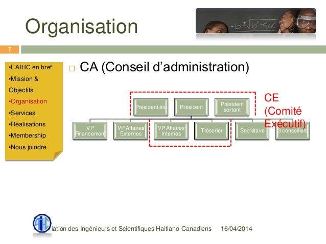 Organisation 16/04/2014Association des Ingénieurs et Scientifiques Haitiano-Canadiens 7  CA (Conseil d'administration)•L'...