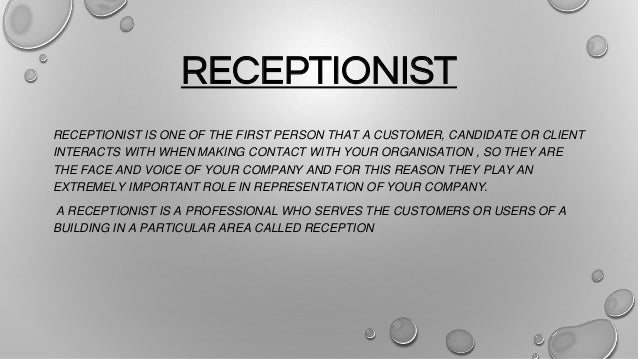 jobs and qualities of a good receptionist