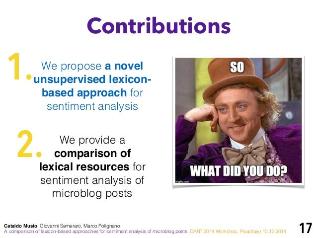lexical approach for sentiment analysis in Contribution of this paper is the definition of a lexicon opinion analysis approach  that extracts the sentiment polarity of informal text expressed in the twitter social .