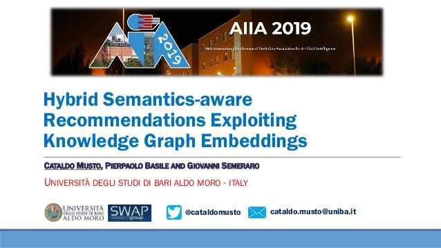 @cataldomusto cataldo.musto@uniba.it Hybrid Semantics-aware Recommendations Exploiting Knowledge Graph Embeddings CATALDO ...