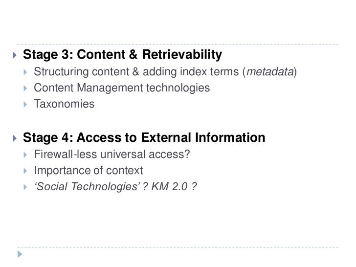 Stage 3: Content & Retrievability<br />Structuring content & adding index terms (metadata)<br />Content Management technol...