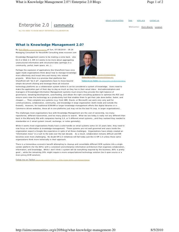 What is Knowledge Management 2.0? | Enterprise 2.0 Blogs                                                                  ...