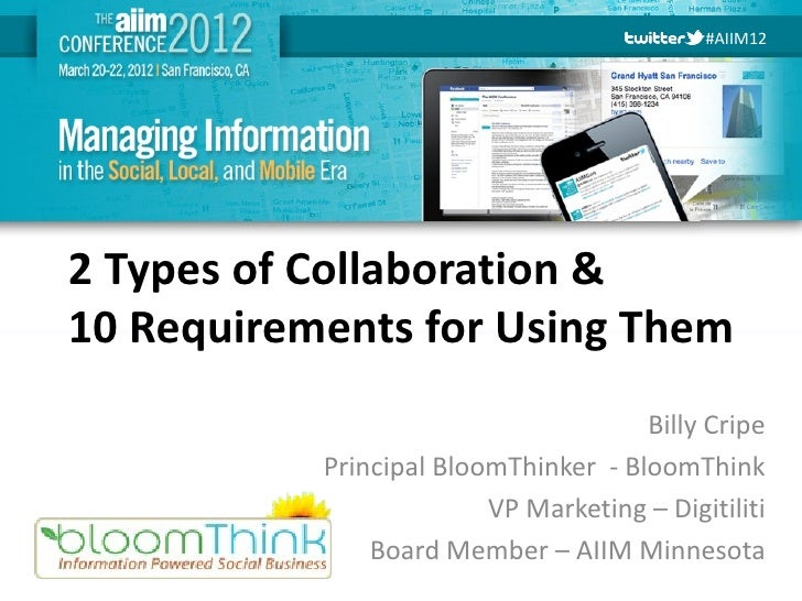 #AIIM122 Types of Collaboration &10 Requirements for Using Them                                      Billy Cripe          ...