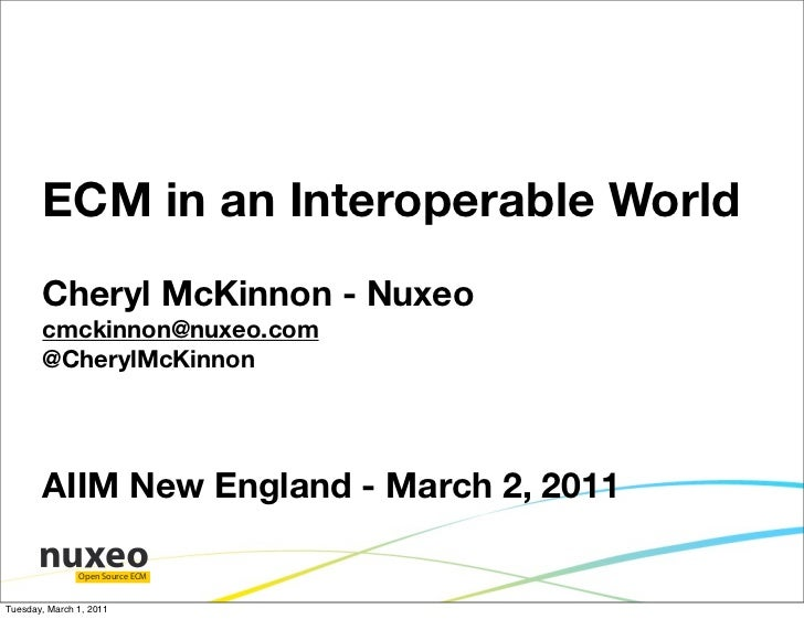 ECM in an Interoperable World       Cheryl McKinnon - Nuxeo       cmckinnon@nuxeo.com       @CherylMcKinnon       AIIM New...