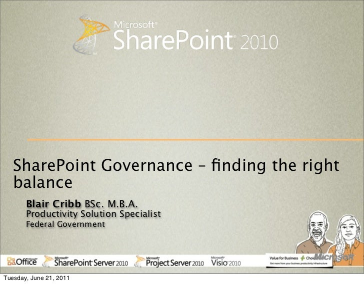 SharePoint Governance – finding the right   balance       Blair Cribb BSc. M.B.A.       Productivity Solution Specialist   ...
