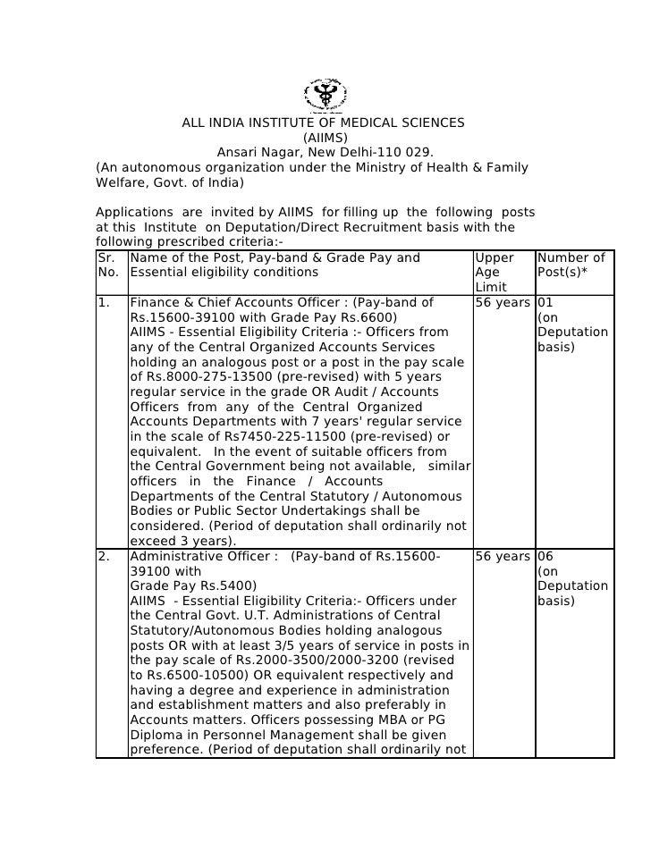 ALL INDIA INSTITUTE OF MEDICAL SCIENCES                                  (AIIMS)                     Ansari Nagar, New Del...